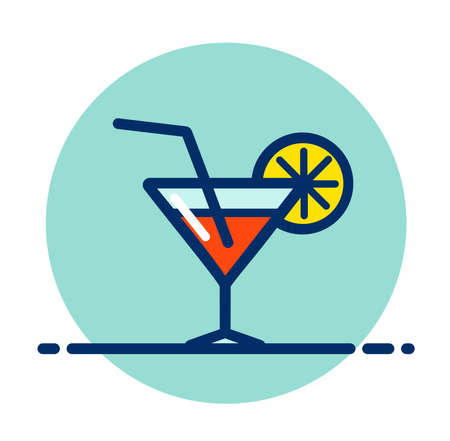 Vector illustration of cocktail drink color icon Illustration