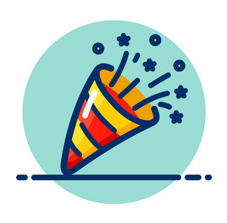 Vector illustration of party popper color icon Illustration