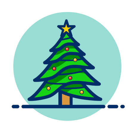 Vector illustration of christmas tree clipart icon