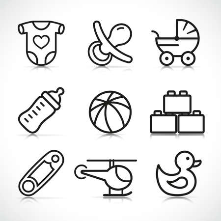 Vector illustration of newborn baby icons set  イラスト・ベクター素材