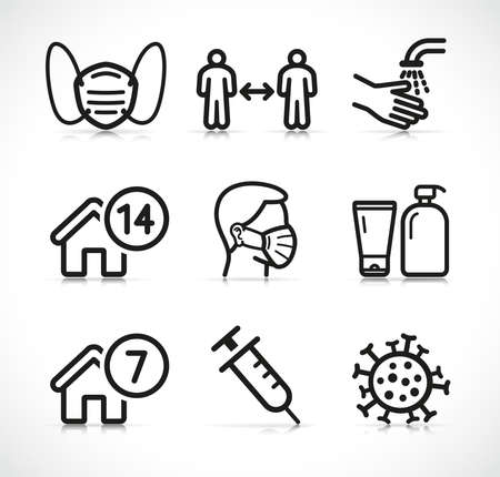 Vector illustration of epidemic instructions icons set