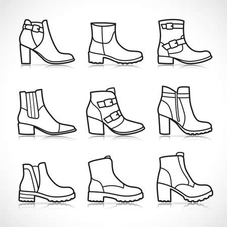 Vector illustration of isolated boots icons set