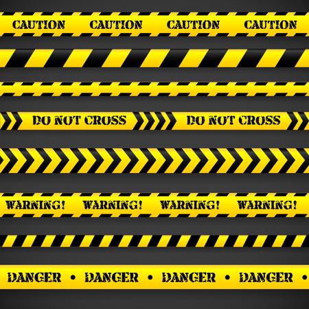 Set of caution tapes. Vector illustration. Ilustração
