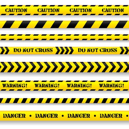 ligne: Ensemble de bandes de prudence sur fond blanc. Illustration