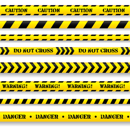 tape line: Set of caution tapes on white background.