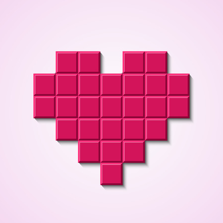 Pink mosaic heart. Vector illustration.