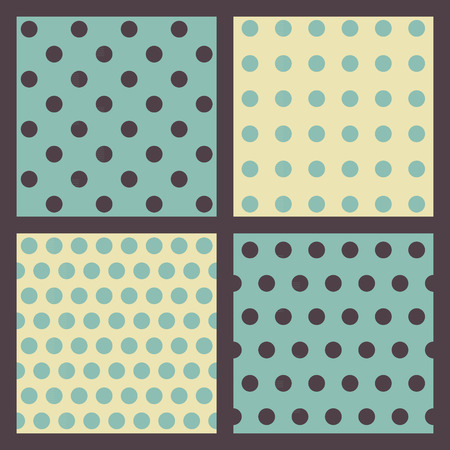 tiffany blue: Set of 4 colored dotted patterns. Illustration
