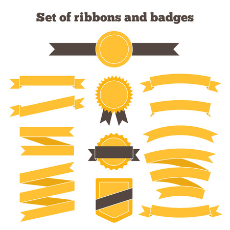 Set of yellow ribbons and badges. Vector