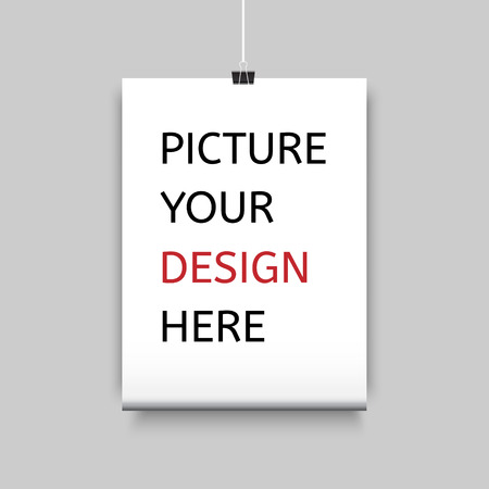 Sheet of paper on clamp for your design. Illustration