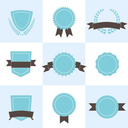 Set of badges, shields and wreaths. Ilustração