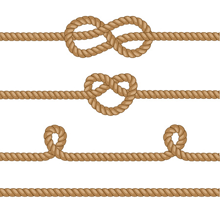 Set of ropes with knots. Vector