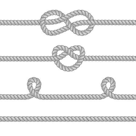 Set van touwen met knopen.