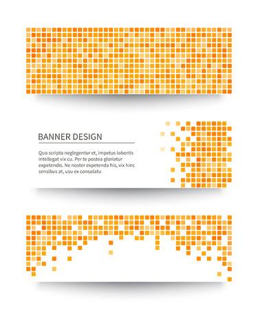 Set of yellow pixel banners. Vector illustration. Ilustração