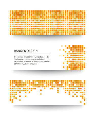 pixelated: Set of yellow pixel banners. Vector illustration. Illustration