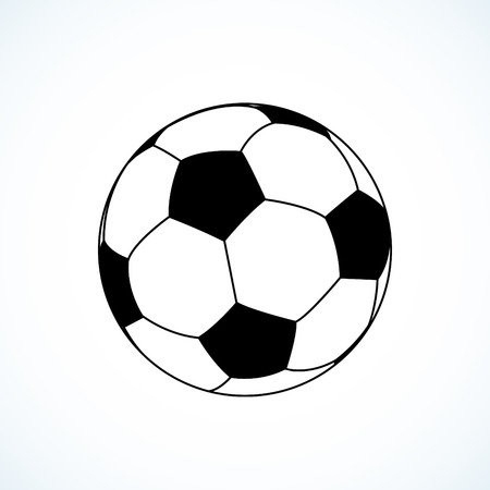 Icon of soccer ball. Vector illustration. Çizim