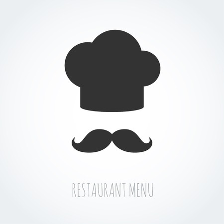 Chef hat and mustache abstract vector icon. Illustration