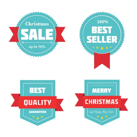 vintage badge: Merry Christmas sale badges. Vector illustration. Illustration