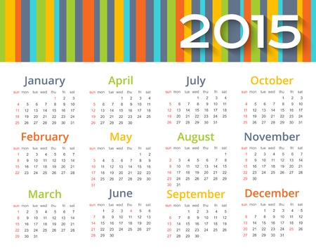chronological: Abstract colored calendar 2015 year.
