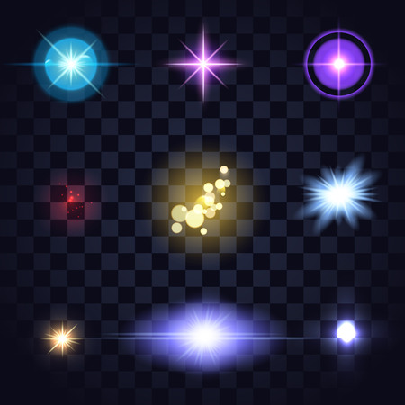 Set of glow colored lights, lens fares, star burst on dark transparent background. Blue, orange, red, yellow bright editable vector elements for your design.