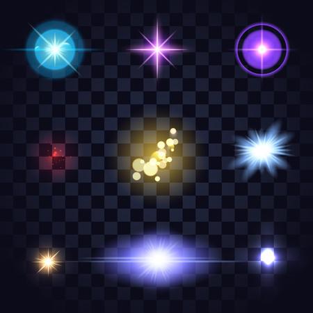 グローの色のライトの設定、レンズ運賃、星は暗い背景を透明にバーストします。あなたのデザインの青、オレンジ、赤、黄色の明るい編集可能なベクトルの要素。