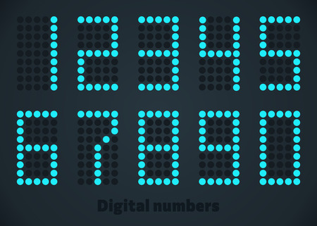 Blue digital numbers, dotted style. Editable size