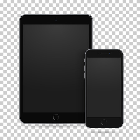 Set of realistic black tablet and mobile phone with empty screen. New electronic gadget