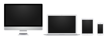 laptop mobile: White computer display, laptop, pad and phone with blank screen, for design, presentation, web, mobile.
