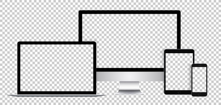 Ensemble réaliste d'appareils électroniques, affichage noir, ordinateur portable, tablette et téléphone avec écran vide.