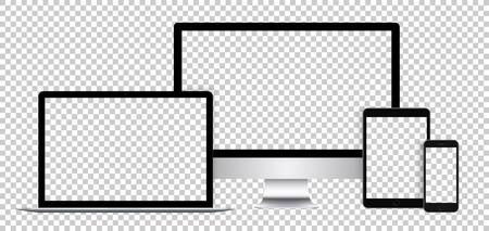 Serie realistico di dispositivi elettronici, display nero, computer portatile, tablet e telefono con schermo vuoto.