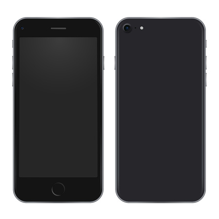 Black phone concept from front side and back view. High quality detailed mobile template with blank screen. Vector realistic illustration.