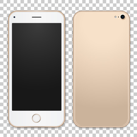 Vector gold mobile phone template with empty screen. Detailed front and back view of smartphone. Vector realistic illustration.