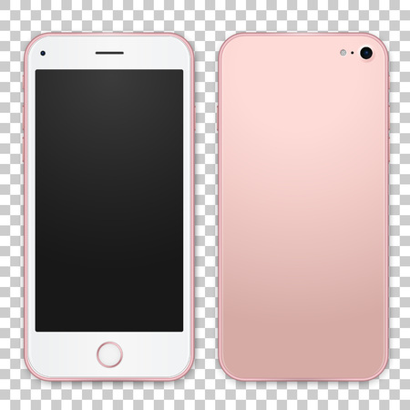Single pink mobile template with blank screen on white background, detailed front and back side. Vector realistic illustration. Ilustração