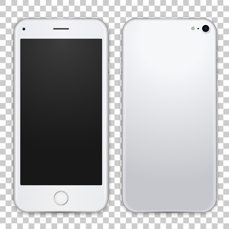 Light grey smartphone template front and black view, vector realistic illustration. Detailed quality mobile phone mock up.