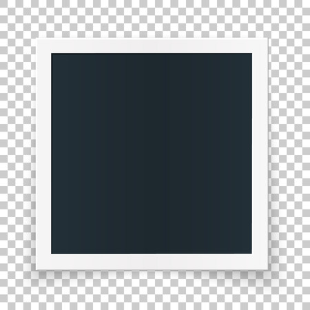 Square photo place concept, single isolated object on transparent background. Vector detailed illustration edge for photos aqnd pictures.