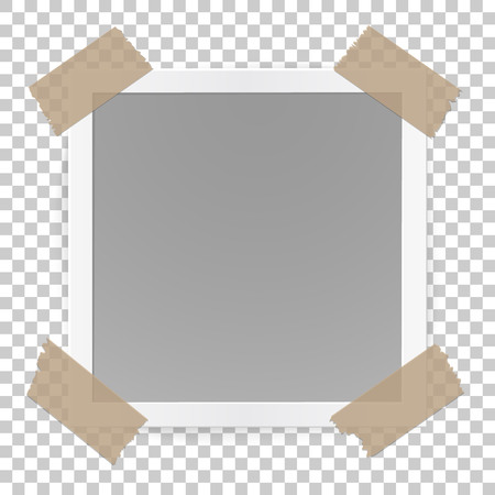 Photo frame concept isolated on transparent background, sticked with tape pieces.