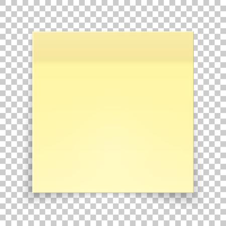 Sticky piece of yellow paper, sticker note for reminding, list, notice, info. Ilustração