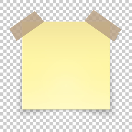 Realistic sticky tape on transparent background, empty yellow note template for your design. Vector illustration.