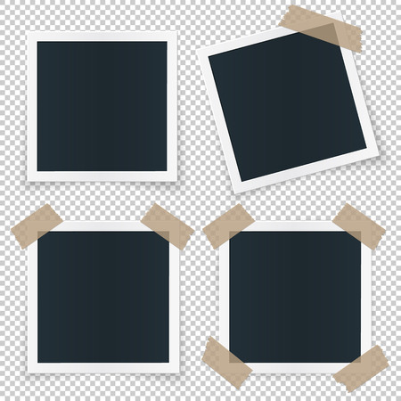 Set of 4 different image frames, with shadow, stickers, tape pieces, rotated and sticked.