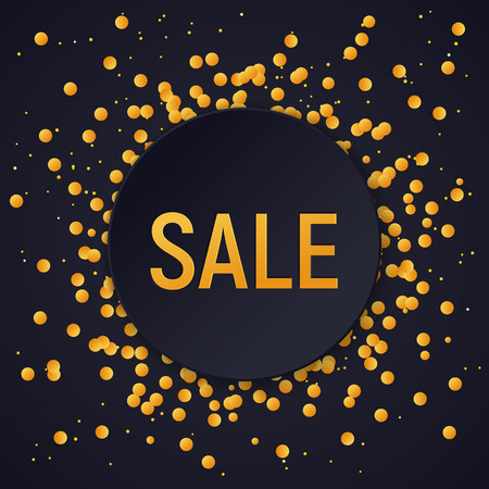 Dark round sale banner on glitter confetti background, vector illustration template.