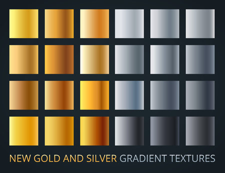 Set of silver and gold gradients on dark background, 24 different colour style, metallic effect. Luxury, vip metal vector banners. Ilustração