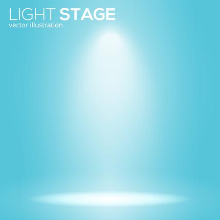 white bean light on round scene, spotlight stage concept, empty place, vector illustration.