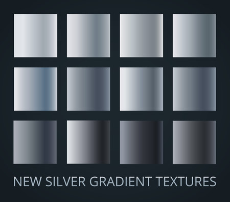 Set of 12 different silver gradients isolated on dark background. Vector illustration.
