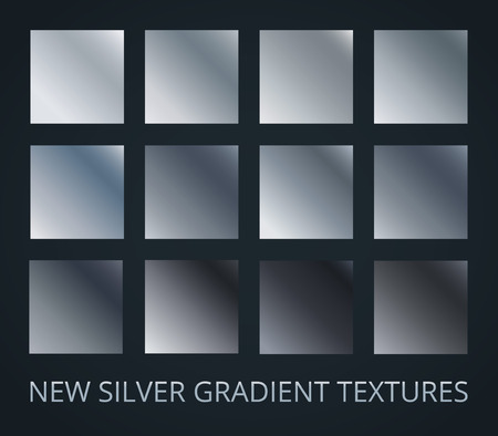 Set of silver gradients on darl background, 12 different colour style, metallic effect. Vector illustration. Ilustração