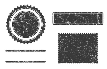 Set of grunge stamps template different forms isolated on white background.