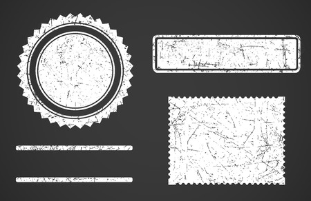 Set of white grunge stamps template different forms isolated on dark background. Vector detailed illustration.