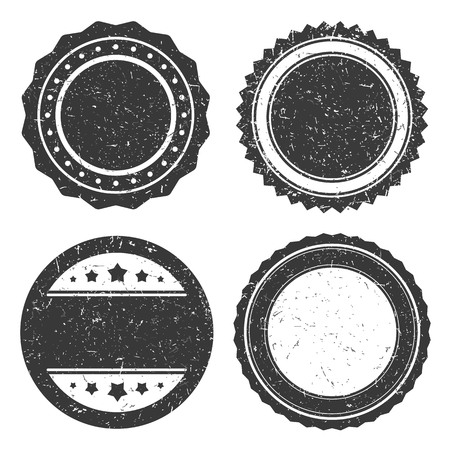 Four different grunge badge template, black scratched circle stamp old styled, vector illustration.