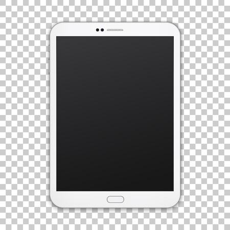 White tablet with empty screen isolated on transparent background, vector digital template. Ilustração