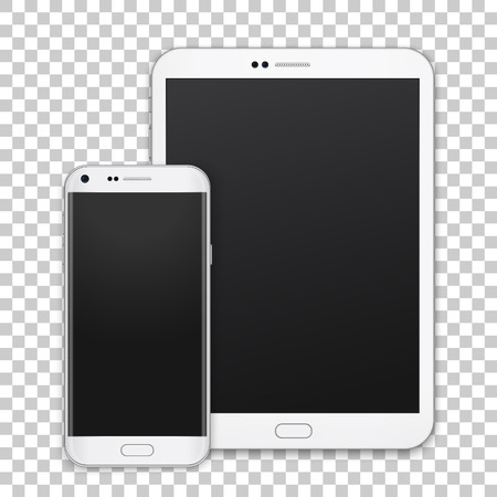 Set of realistic tablet and mobile phone with empty screen. New vector gadget on transparent background.