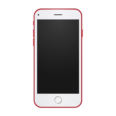 Red phone concept with empty blank screen to present your app, design. Vector realistic illustration.
