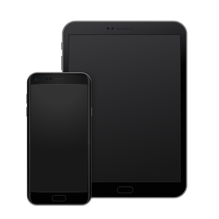 Black tablet pad and smart phone on white background, vector digital template.